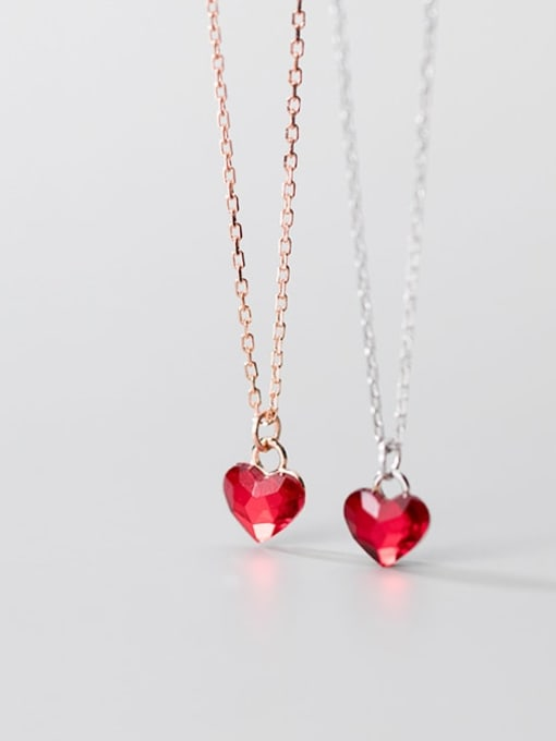 Rosh 925 Sterling Silver Red Heart Minimalist Necklace 1