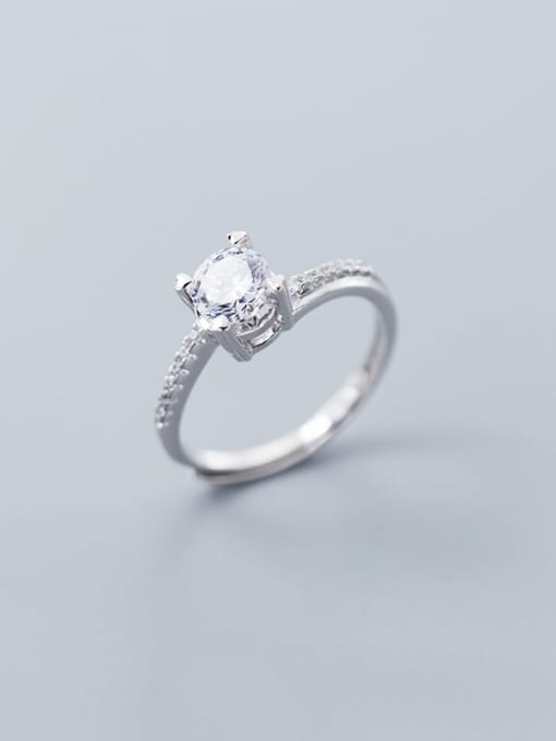 Rosh 925 Sterling Silver Square Cubic Zirconia  Minimalist Band Ring 0
