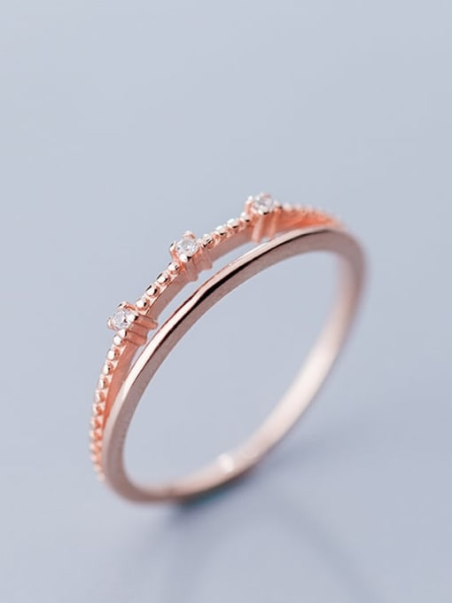 Rosh 925 Sterling Silver  Minimalist  Double-layer diamond Band Ring 1