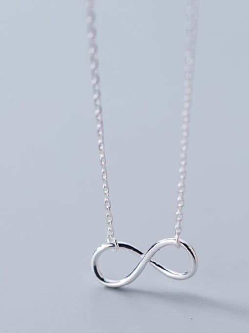 Rosh 925 Sterling Silver Minimalist  Number 8 Pendant  Necklace 1