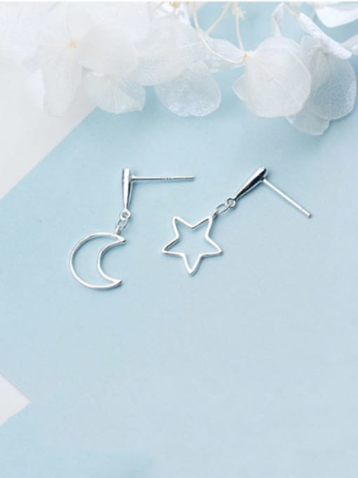 Rosh 925 Sterling Silver  Minimalist  Asymmetric Star Moon Drop Earring 0
