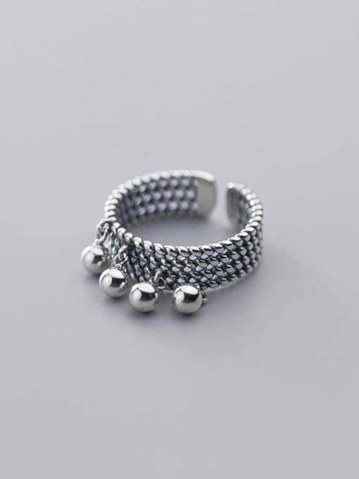 Rosh 925 Sterling Silver   Retro Multilayer Twist Glossy Beads Free Size Ring 2