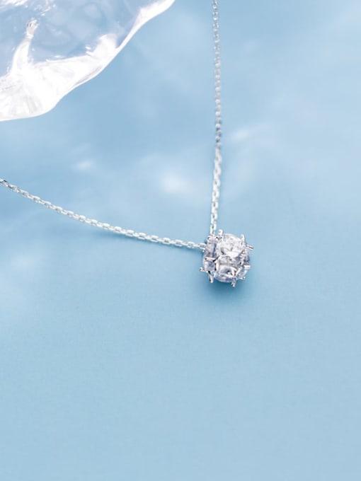 Rosh 925 Sterling Silver Rhinestone Full diamond small ball pendant Necklace 0