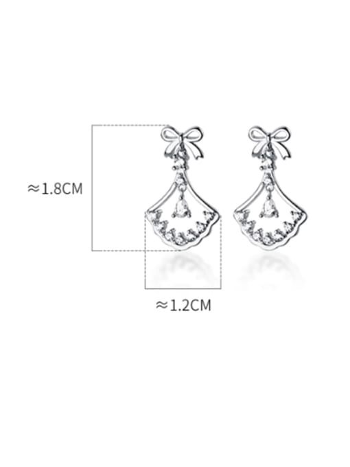 Rosh 925 Sterling Silver Cubic Zirconia Butterfly knot sector Classic Drop Earring 3