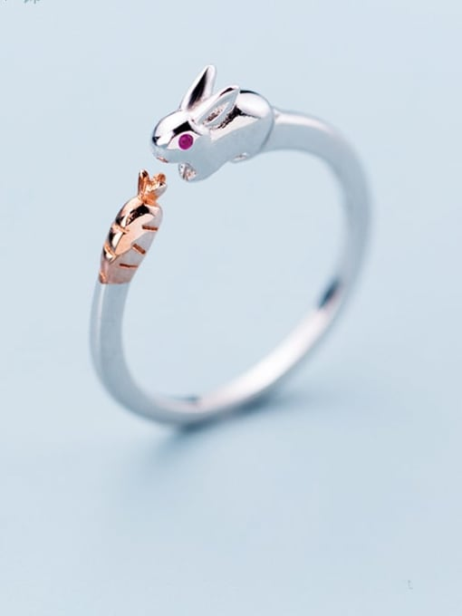 Rosh 925 Sterling Silver Cute rabbit Free Size  Ring