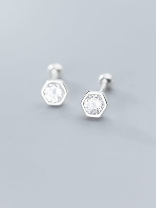 Rosh 925 Sterling Silver Round Cubic Zirconia   Minimalist Stud Earring