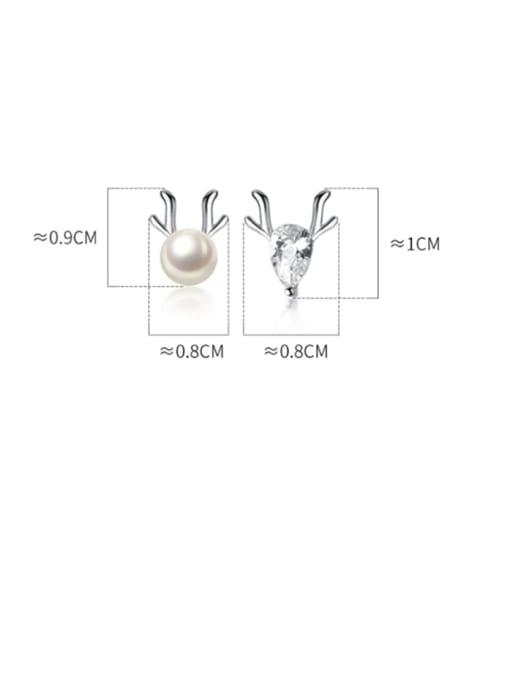 Rosh 925 Sterling Silver Cubic Zirconia Deer Cute Stud Earring 4