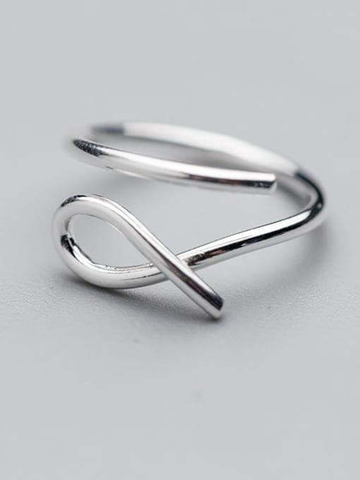 Rosh 925 Sterling Silver Hollow Irregular Minimalist Free Size  Ring 1