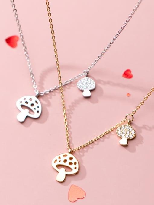 Rosh 925 Sterling Silver Hollow Mushroom Minimalist Necklace 3