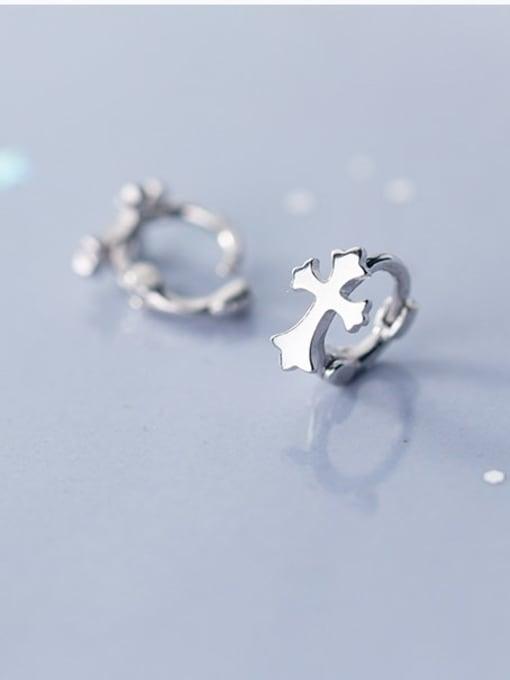 Rosh 925 Sterling Silver  Minimalist Smooth Cross Huggie Earring 2