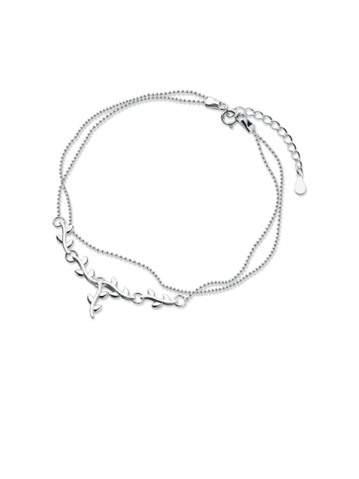 Rosh 925 Sterling Silver  Irregular Minimalist Double layer  Anklet 0
