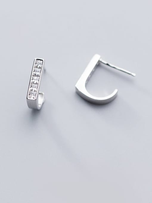 Rosh 925 Sterling Silver Rhinestone  Geometric Minimalist Stud Earring 2