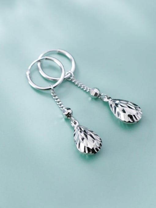 Rosh 925 Sterling Silver Cubic Zirconia Water Drop Minimalist Huggie Earring 1