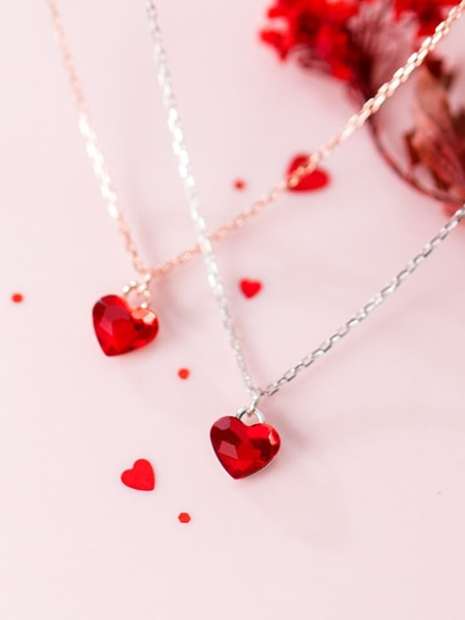 Rosh 925 Sterling Silver Red Heart Minimalist Necklace 2