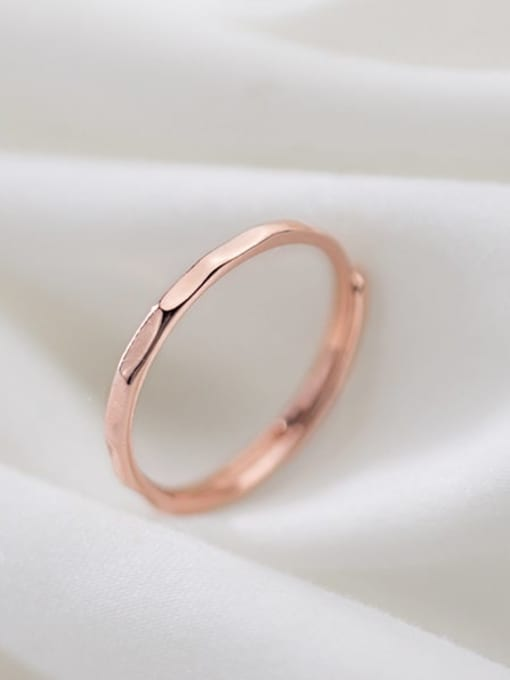 Rosh 925 Sterling Silver Round Minimalist  Free Size Band Ring 0