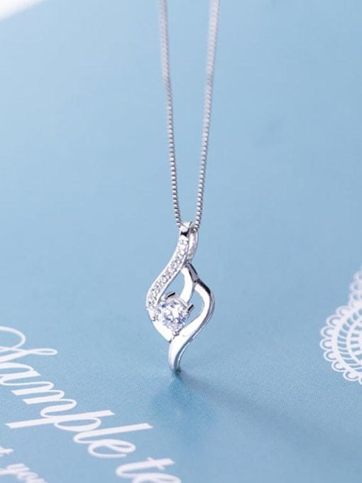 Rosh 925 Sterling Silver Cubic Zirconia Simple geometric shape Pendant  Necklace