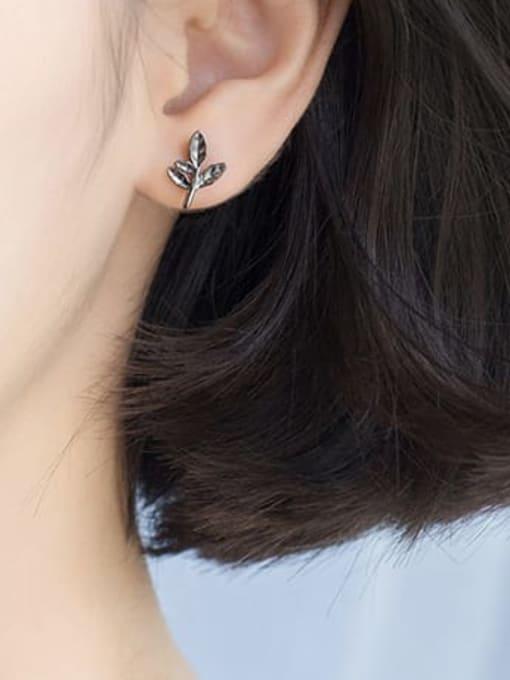 Rosh 925 Sterling Silver Leaf Vintage Stud Earring 1