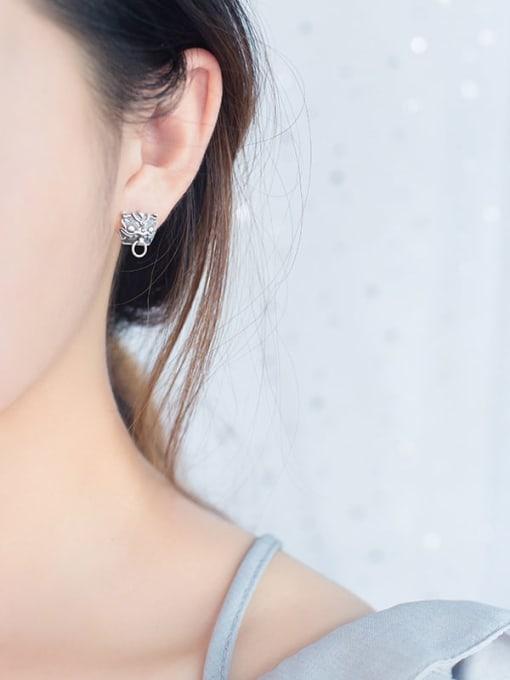 Rosh 925 Sterling Silver Archaic Unicorn Hip Hop Stud Earring 1