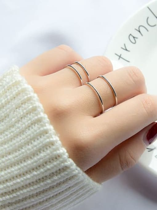 Rosh 925 Sterling Silver Smooth Round Minimalist Stackable Ring 1