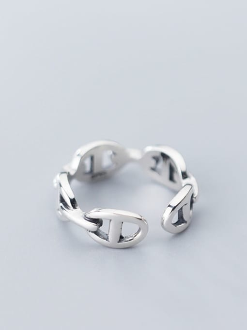 Rosh 925 Sterling Silver Retro Hollow Geometric Ethnic Free Size Ring 2