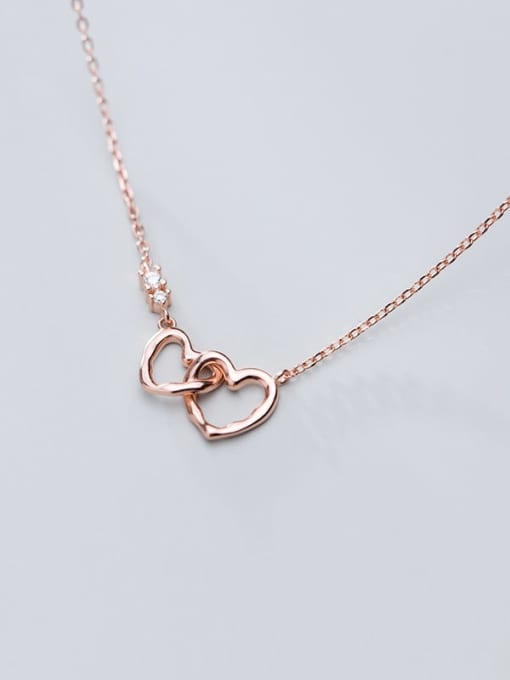 Rosh 925 Sterling Silver Minimalist  Hollow  Heart Necklace 3
