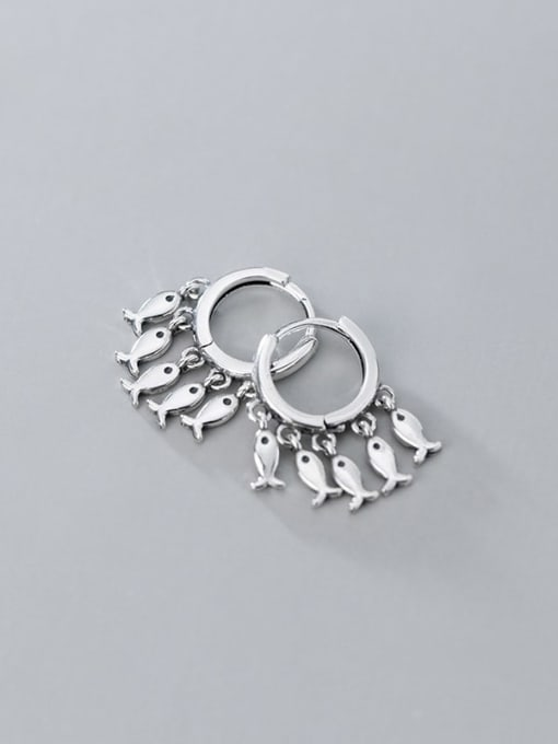 Rosh 925 Sterling Silver Many creative fish Classic Huggie Earring 1