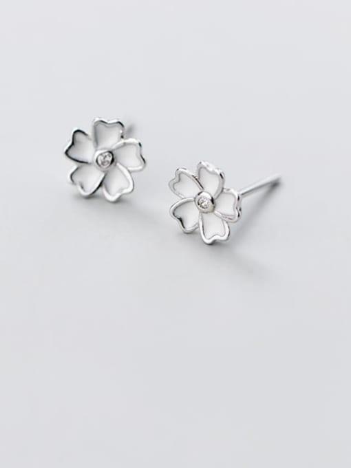 Rosh 925 Sterling Silver Shell White Flower Minimalist Stud Earring 1