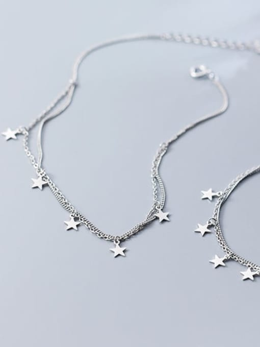 Rosh 925 Sterling Silver Star Trend Double-layer Charm Bracelet 1