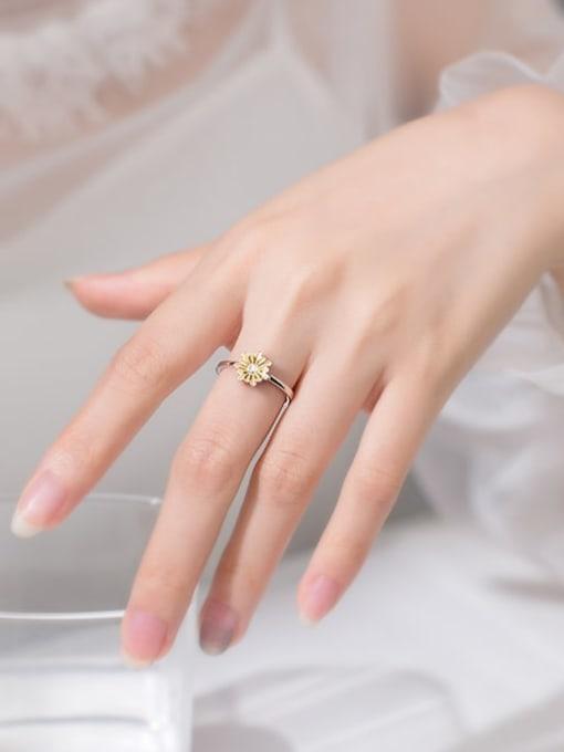 Rosh 925 Sterling Silver Enamel Flower Cute Free Size Band Ring 1
