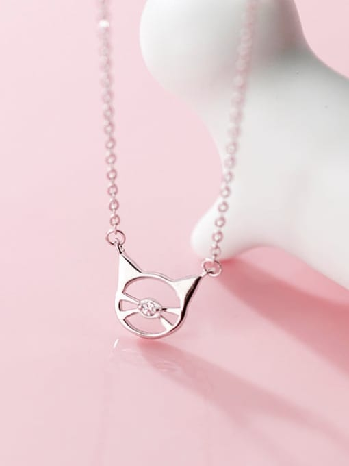 Rosh 925 Sterling Silver  Minimalist Cute Hollow Cat Pendant Necklace