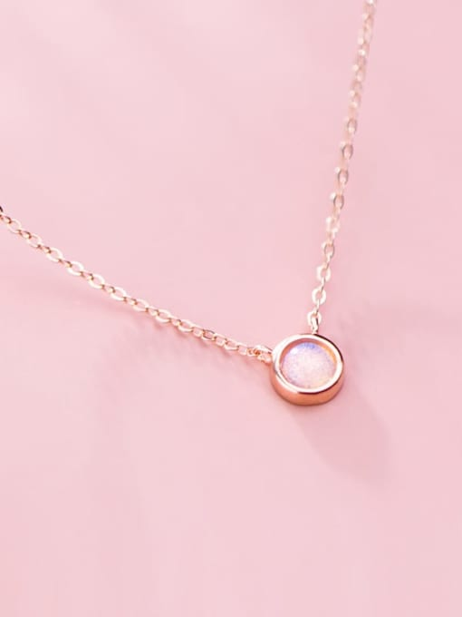 Rosh 925 Sterling Silver Opal Round Minimalist Necklace 2