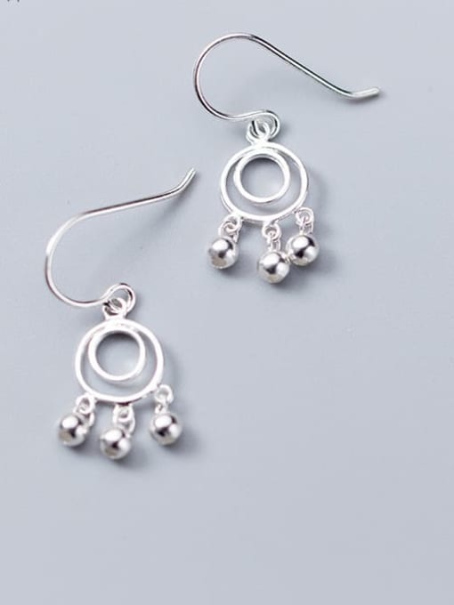 Rosh 925 Sterling Silver  Minimalist   round smooth beads Hook Earring