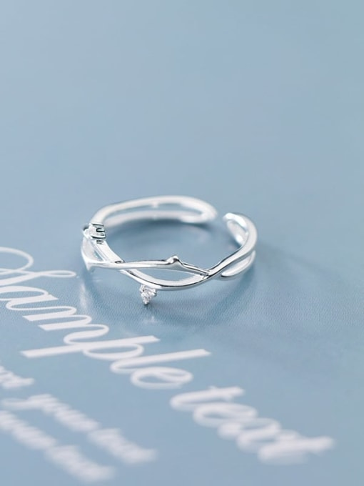 Rosh 925 Sterling Silver  Minimalist Tree branch Free Size  Ring 1