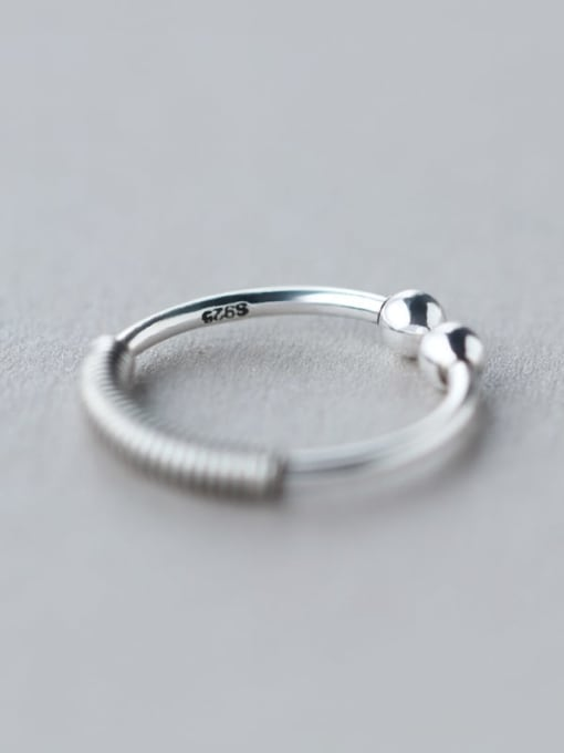Rosh 925 Sterling Silver Irregular Vintage Screw Thread Free Size  Ring 2