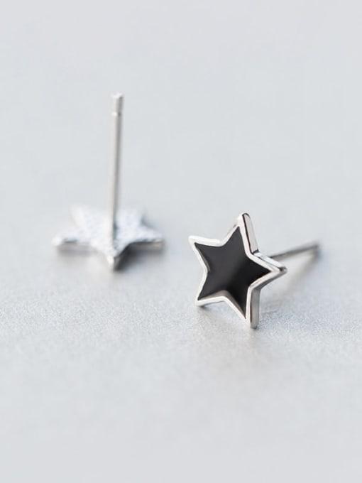 Rosh 925 Sterling Silver Black Enamel Star Minimalist Stud Earring 2