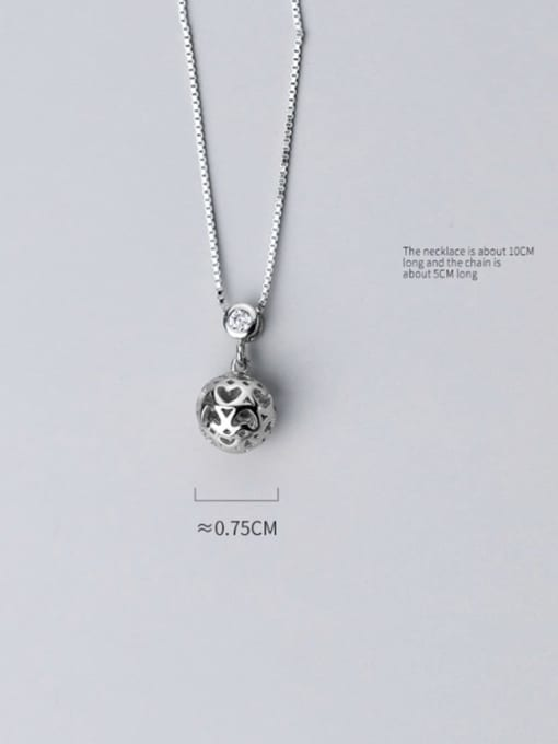 Rosh 925 sterling silver Heart hollow round ball pendant necklace 2