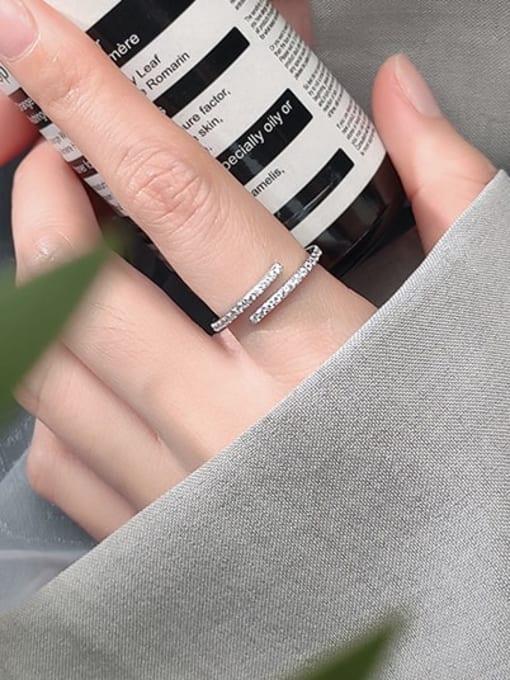 Rosh 925 Sterling Silver Rhinestone White Round Minimalist Band Ring 2