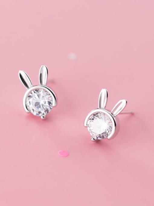 Rosh 925 sterling silver single diamond cute little rabbit Earrings