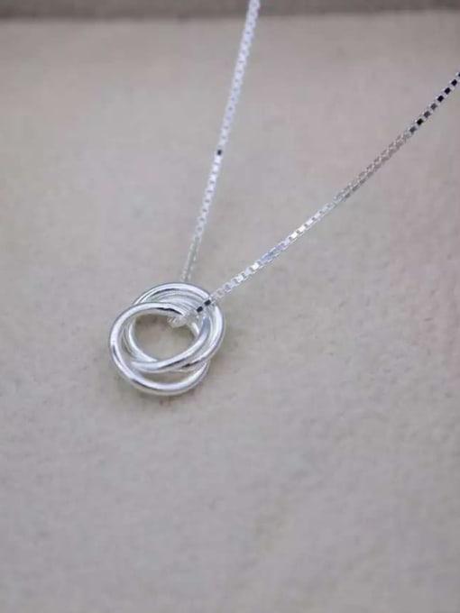 Rosh 925 Sterling Silver Minimalist  Simple fashion three-layer round pendant Necklace 1