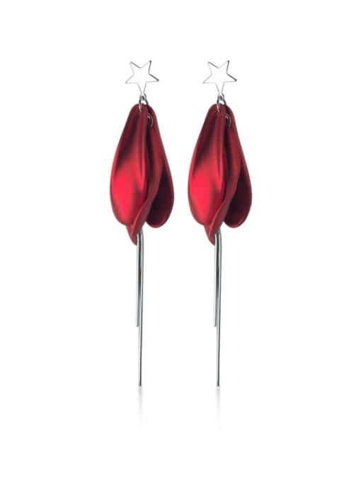 Rosh 925 Sterling Silver  Enamel Flowers Tassel Trend Hook Earring