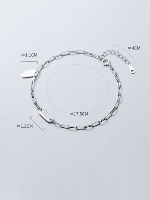 Rosh 925 Sterling Silver Simple square brand letters LUCKY chain bracelet 3