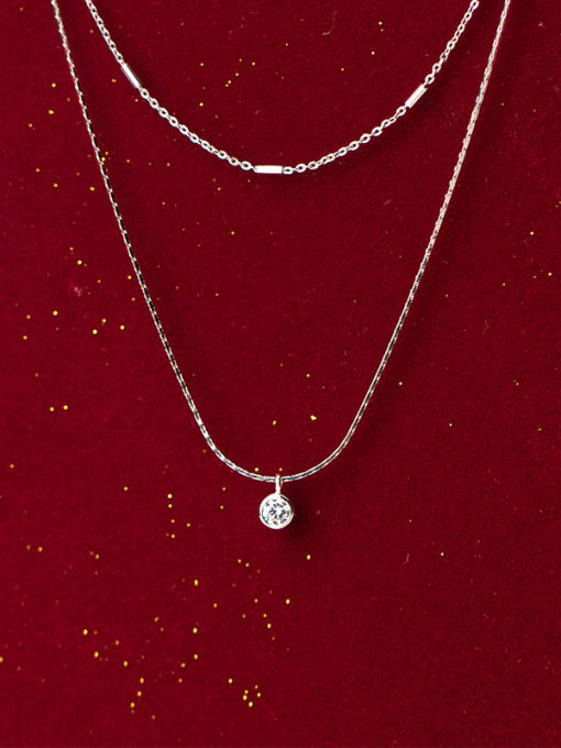 Rosh 925 Sterling Silver   Minimalist Fashion diamond double layer  Necklace 1