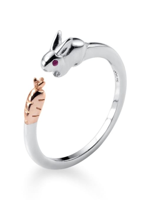 Rosh 925 Sterling Silver Cute rabbit Free Size  Ring 3
