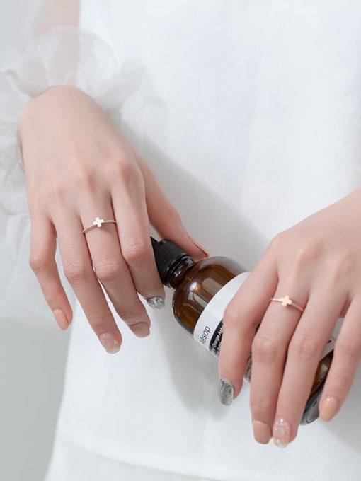 Rosh 925 Sterling Silver  Minimalist  Fashion Cross Couple Band Ring 2