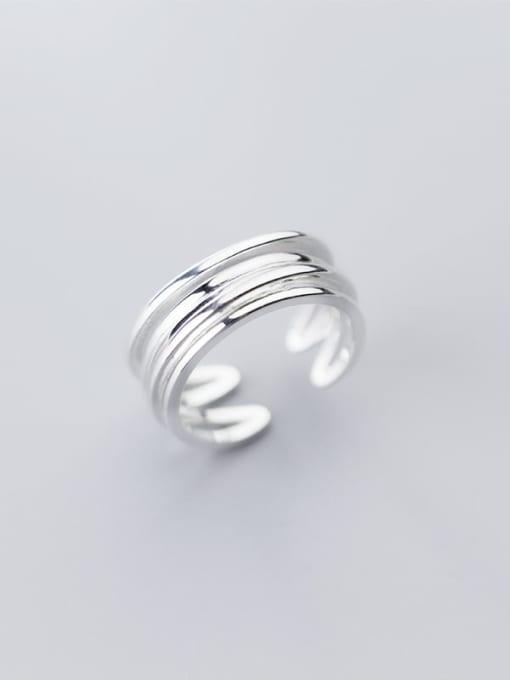 Rosh 925 Sterling Silver Minimalist Fashion Multi-layer lines Irregular Free Size Ring 0