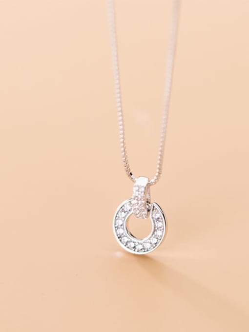 Rosh 925 Sterling Silver Cubic Zirconia Full Diamond Round Pendant  Necklace 2
