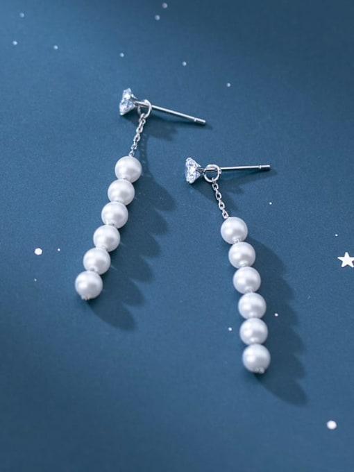 Rosh 925 Sterling Silver Round Imitation Pearl   Minimalist Drop Earring 1