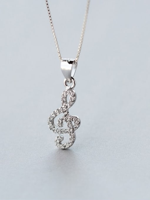 Rosh 925 Sterling Silver Simple fashion full diamond notes pendant Necklace 2
