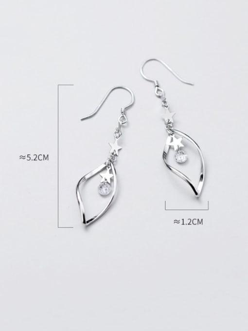 Rosh 925 Sterling Silver Cubic Zirconia  Irregular Trend Hook Earring 2
