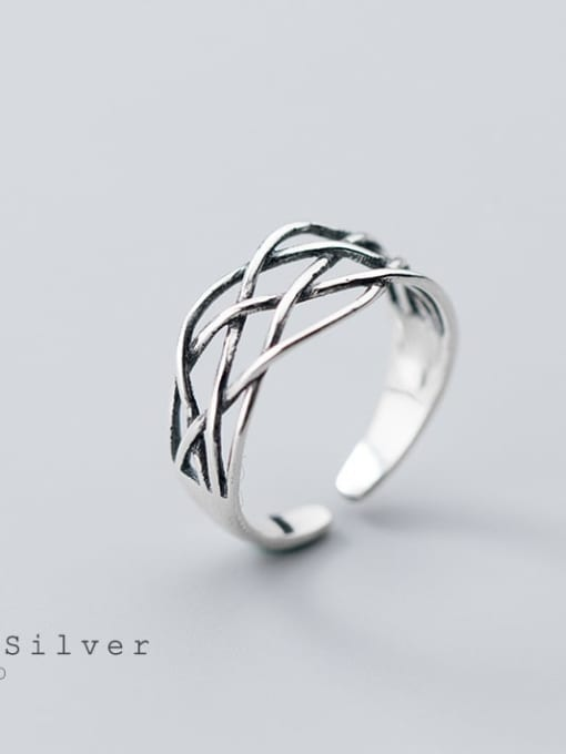 Rosh 925 Sterling Silver Vintage Crossover Line Free Size Ring 0